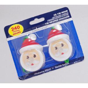 2個入り!サンタクロースのLEDキャンドル/電池式LEDローソク/クリスマス電飾|asukabc-online