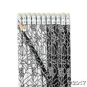 ハロウィンキャラクター鉛筆(12本入り)/Spider Web Pencils/クモの巣|asukabc-online