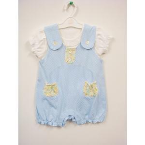 スゥィートガールのTシャツ付きサロペット♪ カラーは3色有ります★ ポケットのお花柄が可愛いアクセン...