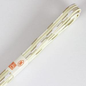 紐の渡敬謹製 フォーマル用 平組 貝の口白抜金入撚 撚り房 帯締め coj8105|asukaya