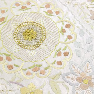 精緻縫い 祈繍工芸 汕頭(スワトウ)蘇州刺繍 レース刺繍 袋帯 fo2916 |asukaya|03