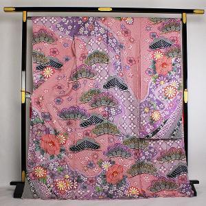 絞り染 丹後ちりめん 金通し地 振袖 紗綾形に花びら地紋 fs27|asukaya