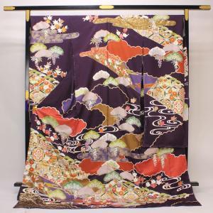 友禅本振袖 京手描き 「内と良」謹製 日本の絹 「雲取りに吉祥文様」 fs355 |asukaya
