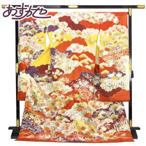 【お仕立て付き】皇室作家 藤井寛 最高級 紋綸子 本振袖 日本の絹 金彩 金駒繍い fs430|asukaya