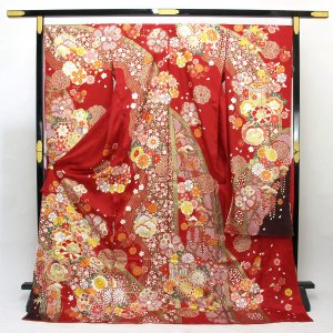 【お仕立て付き】型染め京友禅 金彩加工 振袖 紗綾紋綸子地 fs439|asukaya