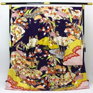 金彩加工 豪華刺繍 振袖 華菱紋綸子地 古典柄 fs443|asukaya