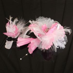 【あすつく】振袖にもどうぞ 髪飾り 羽付き 花 2個セット kz118|asukaya