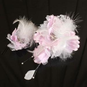【あすつく】振袖にもどうぞ 髪飾り 羽付き 花 2個セット kz119|asukaya