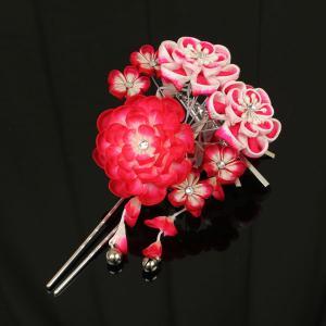 【あすつく】豪華 つまみ細工 振袖用 髪飾り かわいい鈴の房さがり付き kz138|asukaya