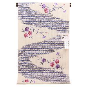 【夏物 お仕立て付き】 東京本染 浴衣 源氏物語 麻と綿の布 「さわらび」なでしこ ykt2742|asukaya