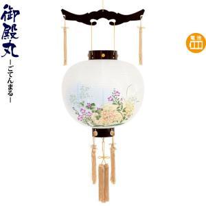 盆提灯 初盆 盆ちょうちん コードレス 御殿丸 ワイン 絵入 13号 電池式 h028-fz-8016-13-108e 提灯 お盆 新盆 お盆飾り|asutsuku-ningyoya
