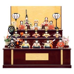 雛人形 一秀 ひな人形 雛 木目込人形飾り 三段飾り 十五人飾り 木村一秀作 平安雛 15号 木製三段セット h023-id-017 asutsuku-ningyoya