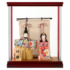 雛人形 一秀 ひな人形 雛 木目込人形飾り ケース飾り 親王飾り 立雛 木村一秀作 神雛 入れ目 0-5号 h023-ie-003 asutsuku-ningyoya