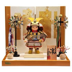 五月人形 久月 子供大将飾り 平飾り 武者人形 幸一光作 凛 正絹紫匂縅 鎧着大将飾り 総檜造り h025-k-38050 K-120|asutsuku-ningyoya