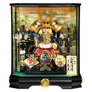 五月人形 久月 コンパクト 子供大将飾り ケース飾り 武者人形 すこやか若大将 8号 取付ケース入 前面アクリルケース オルゴール付 h025-k-t535100 K-125|asutsuku-ningyoya