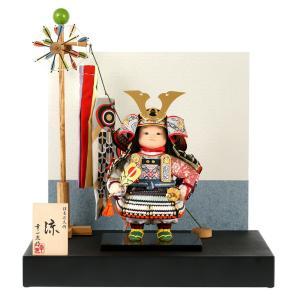 五月人形 幸一光 松崎人形 子供大将飾り 平飾り 涼 りょう 黒小札 淡色段威 黒塗紗貼台 江戸唐紙貼り分け衝立 鯉幟付 h025-koi-5080|asutsuku-ningyoya