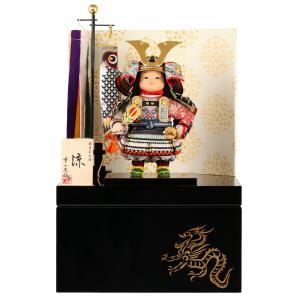 五月人形 幸一光 松崎人形 子供大将飾り 収納飾り 涼 りょう 黒小札 淡色段威 片袖二曲江戸唐紙屏風 鯉幟付 h025-koi-5081|asutsuku-ningyoya