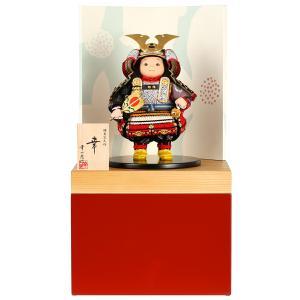 五月人形 幸一光 松崎人形 子供大将飾り 収納飾り 幸 こう 黒小札 赤段威 朱消し飾り台A 創作和紙屏風 h025-koi-5200a|asutsuku-ningyoya