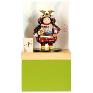 五月人形 幸一光 松崎人形 子供大将飾り 収納飾り 幸 こう 黒小札 赤段威 緑消し飾り台B 創作和紙屏風 h025-koi-5200b|asutsuku-ningyoya