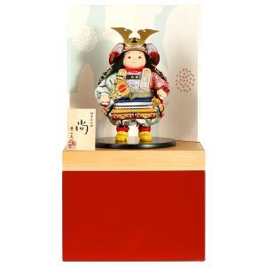 五月人形 幸一光 松崎人形 子供大将飾り 収納飾り 尚 なお 黒小札 青段威 朱消し飾り台A 創作和紙屏風 h025-koi-5210a|asutsuku-ningyoya