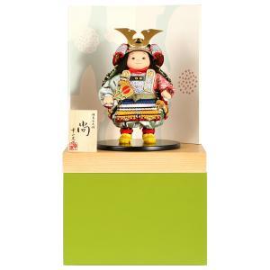 五月人形 幸一光 松崎人形 子供大将飾り 収納飾り 尚 なお 黒小札 青段威 緑消し飾り台B 創作和紙屏風 h025-koi-5210b|asutsuku-ningyoya