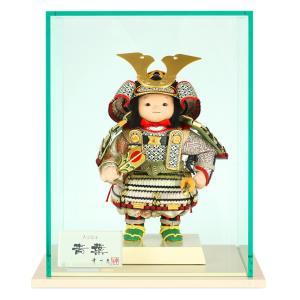五月人形 幸一光 松崎人形 子供大将飾り ケース飾り 青葉 あおば 黒小札 緑白桃段威 印伝使用 裾金具付 アクリルケース h025-koi-5320|asutsuku-ningyoya