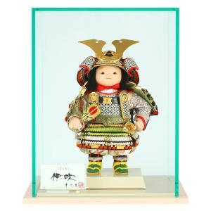 五月人形 幸一光 松崎人形 子供大将飾り ケース飾り 伊吹 いぶき 黒小札 黄緑桃段威 印伝使用 裾金具付 アクリルケース h025-koi-5330|asutsuku-ningyoya