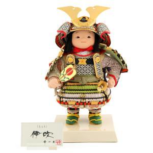 五月人形 幸一光 松崎人形 子供大将飾り 人形単品 伊吹 いぶき 黒小札 黄緑桃段威 印伝使用 裾金具付 h025-koi-5331|asutsuku-ningyoya