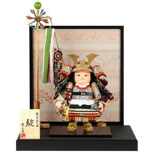 五月人形 幸一光 松崎人形 子供大将飾り 平飾り 駿 しゅん 黒小札 錆朱段威 黒塗紗貼台 衝立屏風A 金襴貼り 鯉幟付 h025-koi-5430a|asutsuku-ningyoya