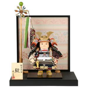 五月人形 幸一光 松崎人形 子供大将飾り 平飾り 駿 しゅん 黒小札 紺段威 黒塗紗貼台 衝立屏風A 金襴貼り 鯉幟付 h025-koi-5435a|asutsuku-ningyoya