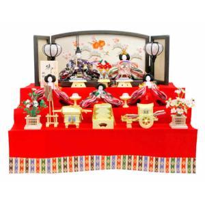 雛人形 ひな人形 雛 三段飾り 五人飾り 琳野作 御雛 h243-aka-10-49