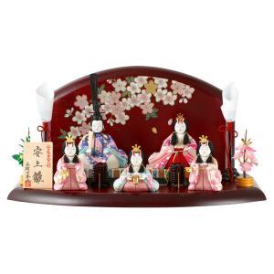 雛人形 一秀 ひな人形 雛 木目込人形飾り 平飾り 五人飾り 木村一秀作 安土雛 14号 h023-ii-015|asutsuku-ningyoya