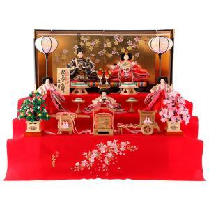 雛人形 久月 ひな人形 雛 三段飾り 五人飾り 束帯十二単姿 花柄金襴衣裳 桐製毛せん三段 h303-kcp-1216nr|asutsuku-ningyoya