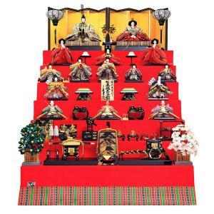 雛人形 久月 ひな人形 雛 七段飾り 十五人飾り 清水朱月作 七番親王 七寸揃 本金道具 久月オリジナル頭 h023-k-7080 K-25|asutsuku-ningyoya