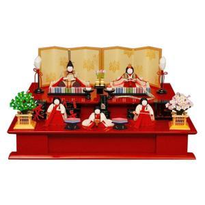 雛人形 幸一光 ひな人形 コンパクト 雛 木目込人形飾り 段飾り 五人飾り ひいな 正絹 木製朱塗り二段台 h023-koi-8120|asutsuku-ningyoya