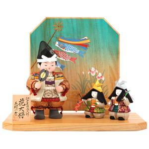 五月人形 一秀 子供大将飾り 武者人形 平飾り 木目込人形飾り 木村一秀作 花大将 陣羽織 家来付 h025-im-010|asutsuku-ningyoya
