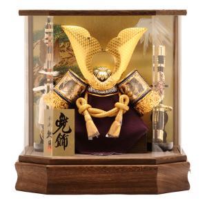 五月人形 久月 兜ケース飾り 六角  オルゴール付 h265-k-k112-2 あすつく対応