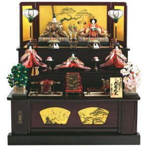 雛人形 久月 ひな人形 雛 三段飾り 五人飾り 平安雛幸作 帯地 六番親王 大三五官女 h023-k-1160 K-27|asutsuku-ningyoya