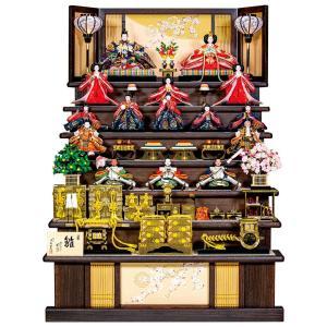 雛人形 平安豊久 ひな人形 雛 七段飾り 十五人飾り 花もも 金襴 八番親王 大三五十三人揃 焼桐 h023-mo-301200 HE-066|asutsuku-ningyoya