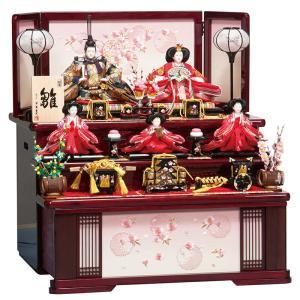 雛人形 平安豊久 ひな人形 雛 コンパクト収納飾り 三段飾り 五人飾り 愛莉 大三五親王 芥子官女揃 h283-mo-303727