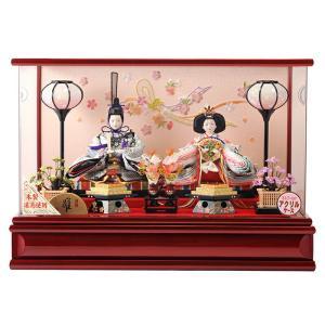 雛人形 コンパクト ひな人形 ケース飾り 親王飾り 小芥子親王 木製道具使用 アクリルケース オルゴール付 h273-sg-5-8|asutsuku-ningyoya