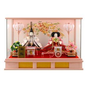雛人形 コンパクト ひな人形 ケース飾り 親王飾り 三五親王 パノラマケース ピンク雪洞 h273-sm-27-3-3|asutsuku-ningyoya