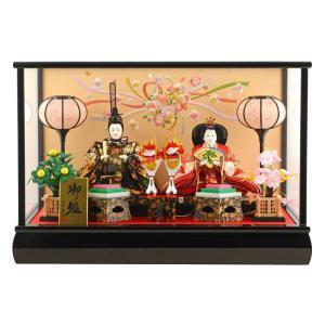 雛人形 コンパクト ひな人形 ケース飾り 親王飾り 三五親王 被せケース 黒塗 オルゴール付 h273-sm-27-3-4|asutsuku-ningyoya