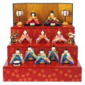 雛人形 コンパクト ひな人形 雛 三段飾り 十人飾り 彩り友...