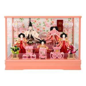 雛人形 コンパクト ひな人形 ケース飾り 五人飾り 御雛 芥子 木製道具 ピンク オルゴール付 h283-ts-a10-p|asutsuku-ningyoya