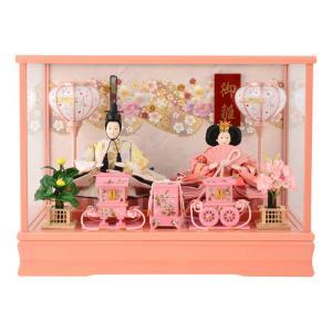 雛人形 コンパクト ひな人形 ケース飾り 親王飾り 御雛 芥子 木製道具 ピンク オルゴール付 h283-ts-a9-p|asutsuku-ningyoya