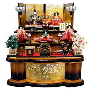雛人形 久月 ひな人形 雛 三段飾り 五人飾り 初音雛 西陣織金襴 京七番親王 大三五官女 久月オリジナル頭 h023-k-1090 K-30|asutsuku-ningyoya