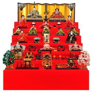 雛人形 久月 ひな人形 雛 七段飾り 十五人飾り 平安雛幸作 京雛 正絹 西陣織金襴 六番親王 八寸揃 本金道具 h023-k-k7510 K-23|asutsuku-ningyoya