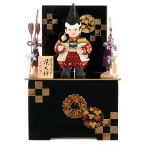五月人形 一秀 子供大将飾り 武者人形 収納飾り 木目込人形飾り 木村一秀作 花大将A 陣羽織 入れ目 h025-im-012|asutsuku-ningyoya