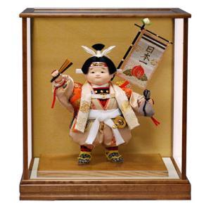 五月人形 幸一光 松崎人形 桃太郎 武者人形 ケース飾り 十号 童子 木肌塗カブセケース 日本一旗付...